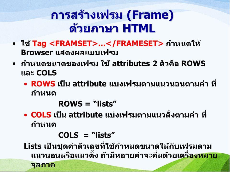 การสร้างเฟรม (Frame) ด้วยภาษา HTML ใช้ Tag … กำหนดให้ Browser แสดงผลแบบเฟรม กำหนดขนาดของเฟรม ใช้ attributes 2 ตัวคือ ROWS และ COLS ROWS เป็น attribute แบ่งเฟรมตามแนวนอนตามค่า ที่ กำหนด ROWS = lists COLS เป็น attribute แบ่งเฟรมตามแนวตั้งตามค่า ที่ กำหนด COLS = lists Lists เป็นชุดค่าตัวเลขที่ใช้กำหนดขนาดให้กับเฟรมตาม แนวนอนหรือแนวตั้ง ถ้ามีหลายค่าจะคั่นด้วยเครื่องหมาย จุลภาค