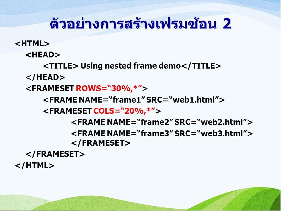 ตัวอย่างการสร้างเฟรมซ้อน 2 Using nested frame demo