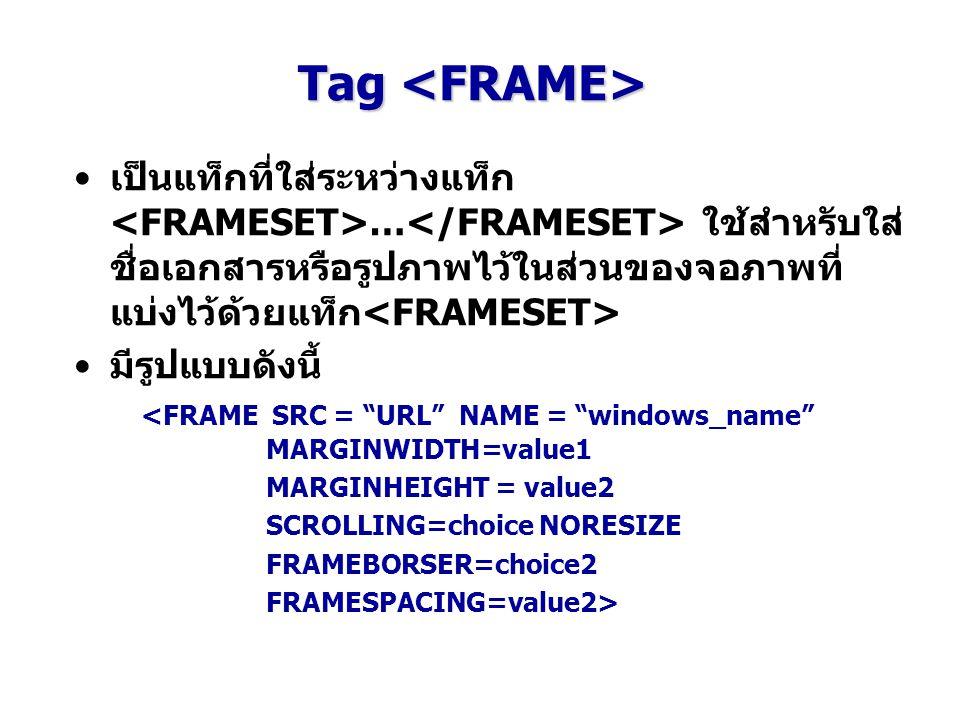 """Tag Tag เป็นแท็กที่ใส่ระหว่างแท็ก … ใช้สำหรับใส่ ชื่อเอกสารหรือรูปภาพไว้ในส่วนของจอภาพที่ แบ่งไว้ด้วยแท็ก มีรูปแบบดังนี้ <FRAME SRC = """"URL"""" NAME = """"wi"""