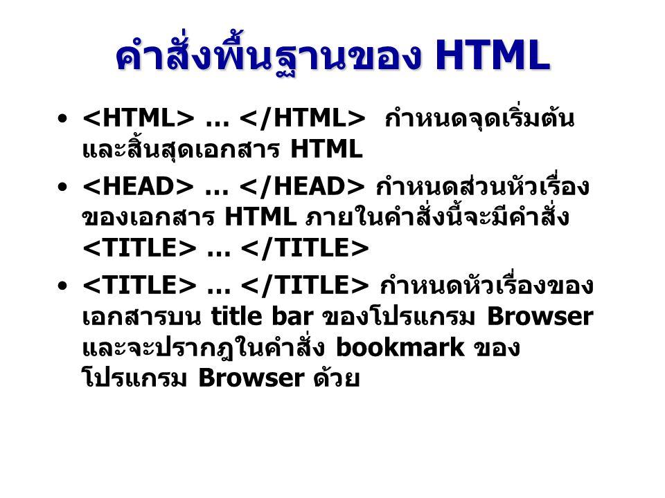 คำสั่งพื้นฐานของ HTML … กำหนดจุดเริ่มต้น และสิ้นสุดเอกสาร HTML … กำหนดส่วนหัวเรื่อง ของเอกสาร HTML ภายในคำสั่งนี้จะมีคำสั่ง … … กำหนดหัวเรื่องของ เอกสารบน title bar ของโปรแกรม Browser และจะปรากฎในคำสั่ง bookmark ของ โปรแกรม Browser ด้วย