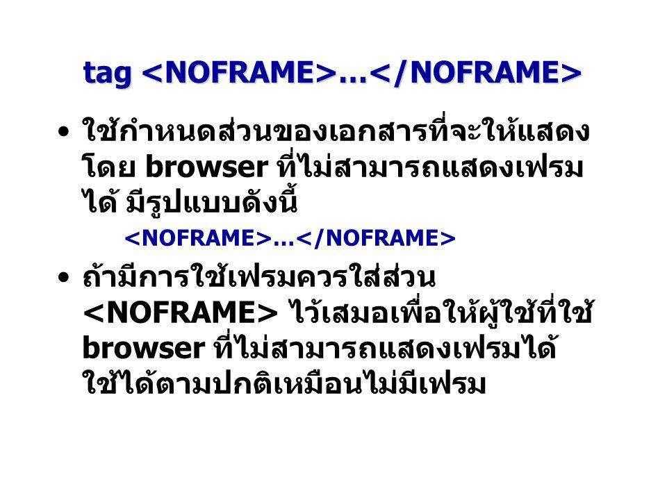 tag … tag … ใช้กำหนดส่วนของเอกสารที่จะให้แสดง โดย browser ที่ไม่สามารถแสดงเฟรม ได้ มีรูปแบบดังนี้ … ถ้ามีการใช้เฟรมควรใส่ส่วน ไว้เสมอเพื่อให้ผู้ใช้ที่