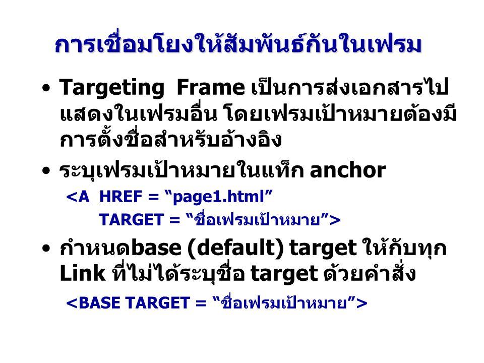 การเชื่อมโยงให้สัมพันธ์กันในเฟรม Targeting Frame เป็นการส่งเอกสารไป แสดงในเฟรมอื่น โดยเฟรมเป้าหมายต้องมี การตั้งชื่อสำหรับอ้างอิง ระบุเฟรมเป้าหมายในแท็ก anchor <A HREF = page1.html TARGET = ชื่อเฟรมเป้าหมาย > กำหนดbase (default) target ให้กับทุก Link ที่ไม่ได้ระบุชื่อ target ด้วยคำสั่ง