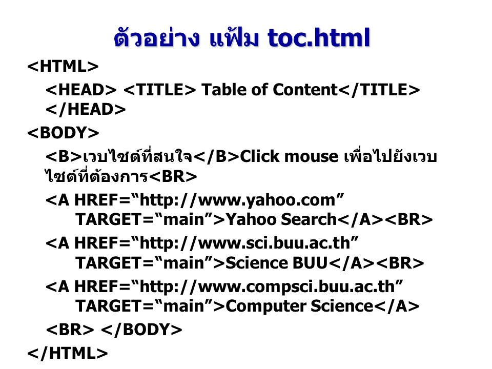 Table of Content เวบไซต์ที่สนใจ Click mouse เพื่อไปยังเวบ ไซต์ที่ต้องการ Yahoo Search Science BUU Computer Science ตัวอย่าง แฟ้ม toc.html