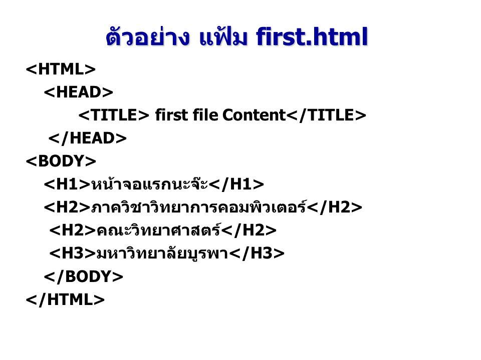 first file Content หน้าจอแรกนะจ๊ะ ภาควิชาวิทยาการคอมพิวเตอร์ คณะวิทยาศาสตร์ มหาวิทยาลัยบูรพา ตัวอย่าง แฟ้ม first.html