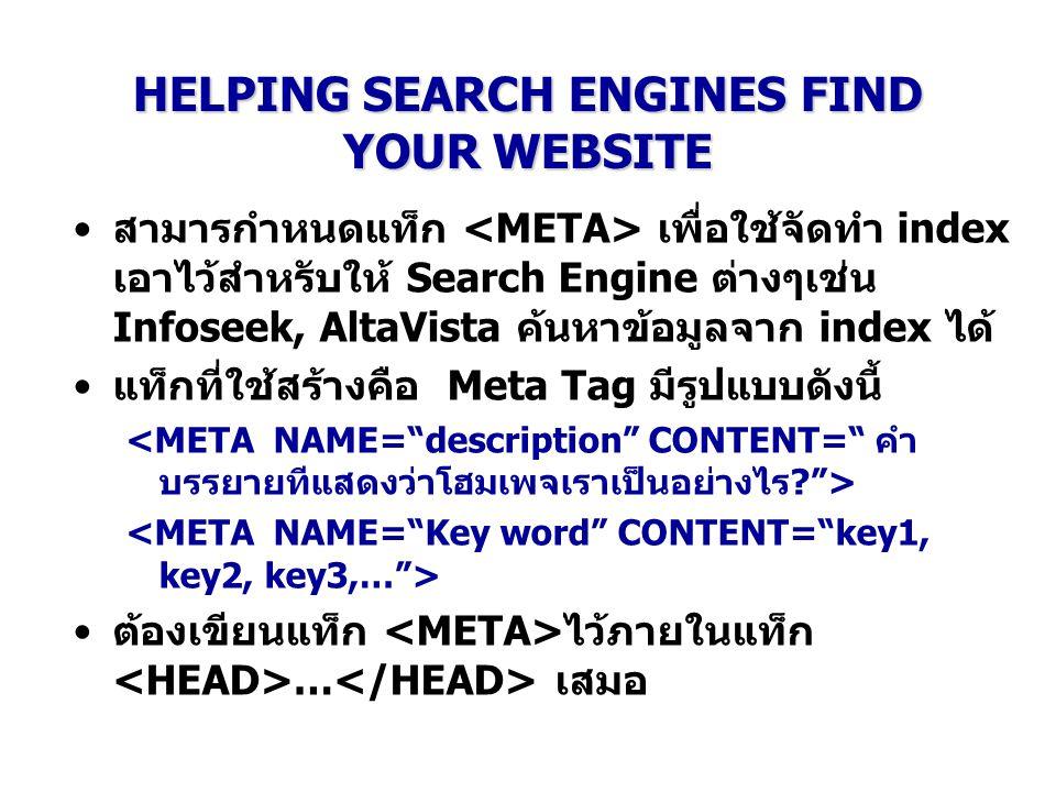 HELPING SEARCH ENGINES FIND YOUR WEBSITE สามารกำหนดแท็ก เพื่อใช้จัดทำ index เอาไว้สำหรับให้ Search Engine ต่างๆเช่น Infoseek, AltaVista ค้นหาข้อมูลจาก