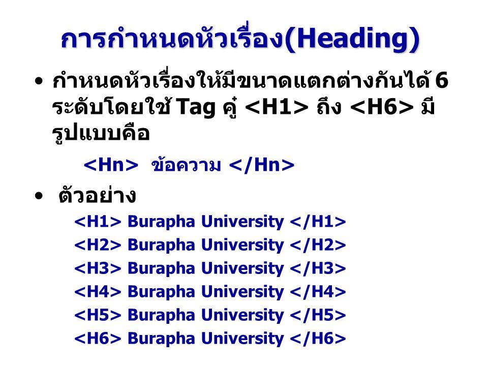 การกำหนดหัวเรื่อง(Heading) กำหนดหัวเรื่องให้มีขนาดแตกต่างกันได้ 6 ระดับโดยใช้ Tag คู๋ ถึง มี รูปแบบคือ ข้อความ ตัวอย่าง Burapha University
