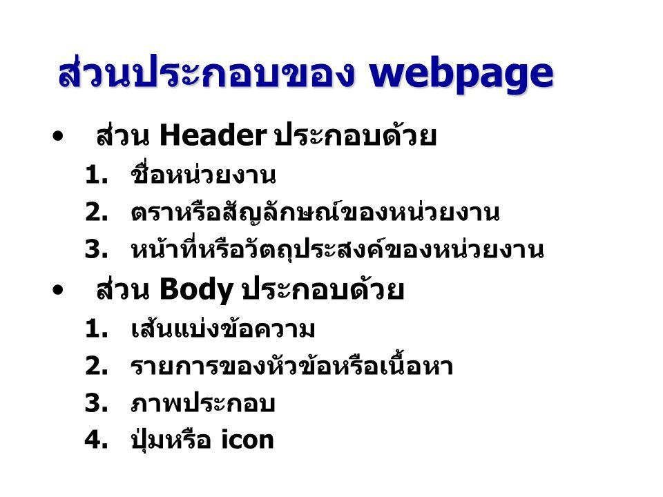 ส่วนประกอบของ webpage ส่วน Header ประกอบด้วย 1. ชื่อหน่วยงาน 2. ตราหรือสัญลักษณ์ของหน่วยงาน 3. หน้าที่หรือวัตถุประสงค์ของหน่วยงาน ส่วน Body ประกอบด้วย