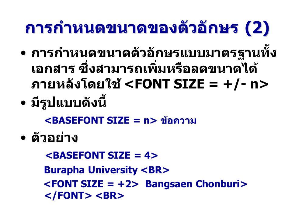 การกำหนดขนาดของตัวอักษร (2) การกำหนดขนาดตัวอักษรแบบมาตรฐานทั้ง เอกสาร ซึ่งสามารถเพิ่มหรือลดขนาดได้ ภายหลังโดยใช้ มีรูปแบบดังนี้ ข้อความ ตัวอย่าง Burapha University Bangsaen Chonburi>