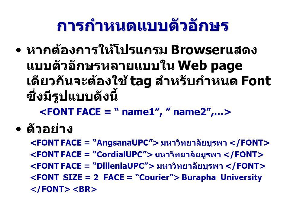 การกำหนดแบบตัวอักษร หากต้องการให้โปรแกรม Browserแสดง แบบตัวอักษรหลายแบบใน Web page เดียวกันจะต้องใช้ tag สำหรับกำหนด Font ซึ่งมีรูปแบบดังนี้ ตัวอย่าง