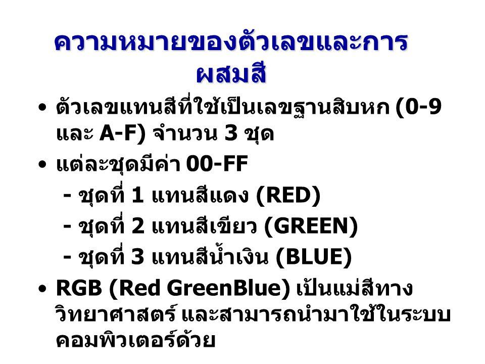 ความหมายของตัวเลขและการ ผสมสี ตัวเลขแทนสีที่ใช้เป็นเลขฐานสิบหก (0-9 และ A-F) จำนวน 3 ชุด แต่ละชุดมีค่า 00-FF - ชุดที่ 1 แทนสีแดง (RED) - ชุดที่ 2 แทนสีเขียว (GREEN) - ชุดที่ 3 แทนสีน้ำเงิน (BLUE) RGB (Red GreenBlue) เป้นแม่สีทาง วิทยาศาสตร์ และสามารถนำมาใช้ในระบบ คอมพิวเตอร์ด้วย