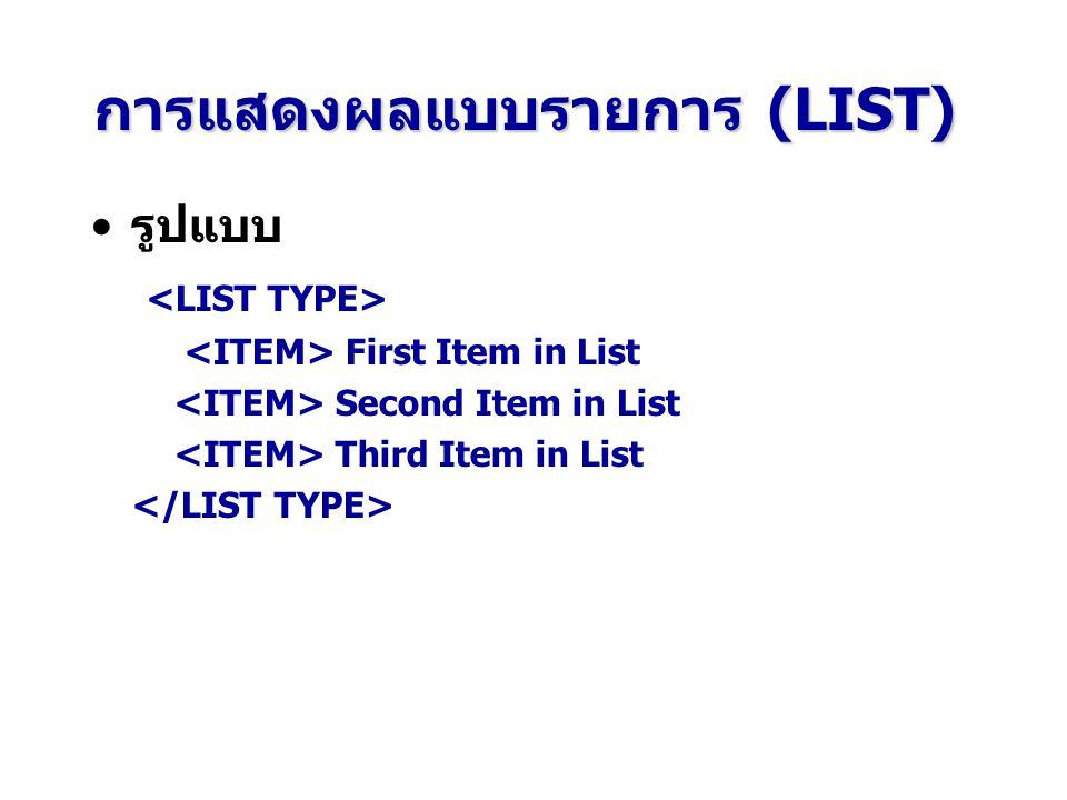การแสดงผลแบบรายการ (LIST) รูปแบบ First Item in List Second Item in List Third Item in List