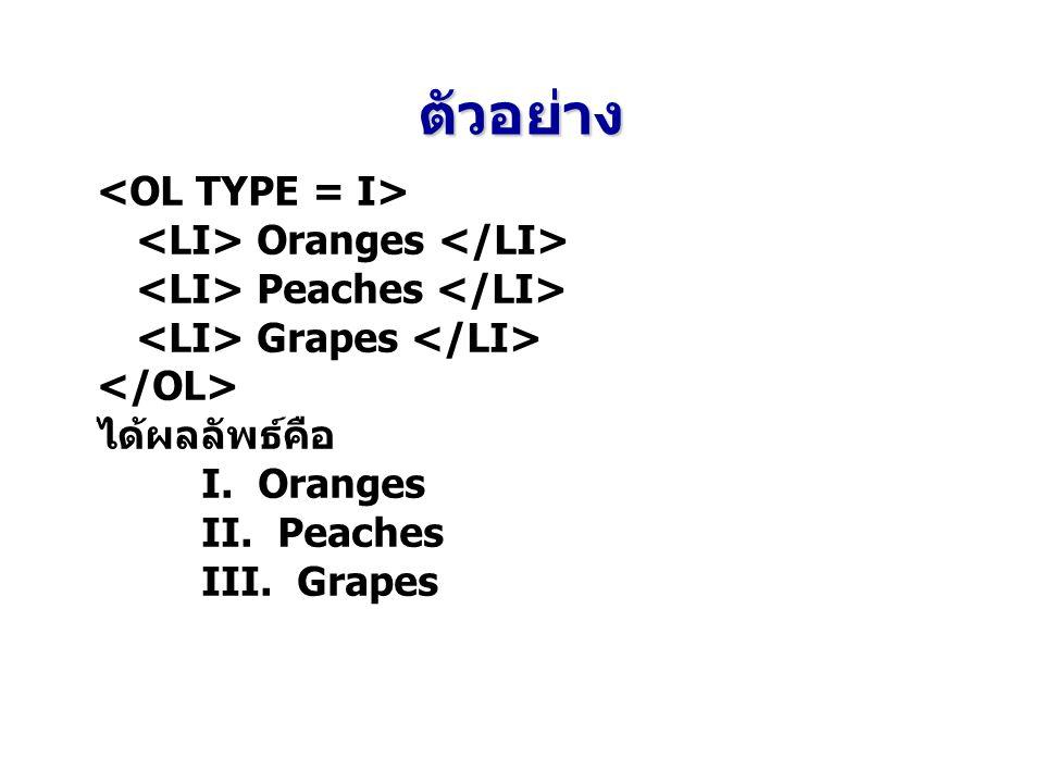 ตัวอย่าง Oranges Peaches Grapes ได้ผลลัพธ์คือ I. Oranges II. Peaches III. Grapes