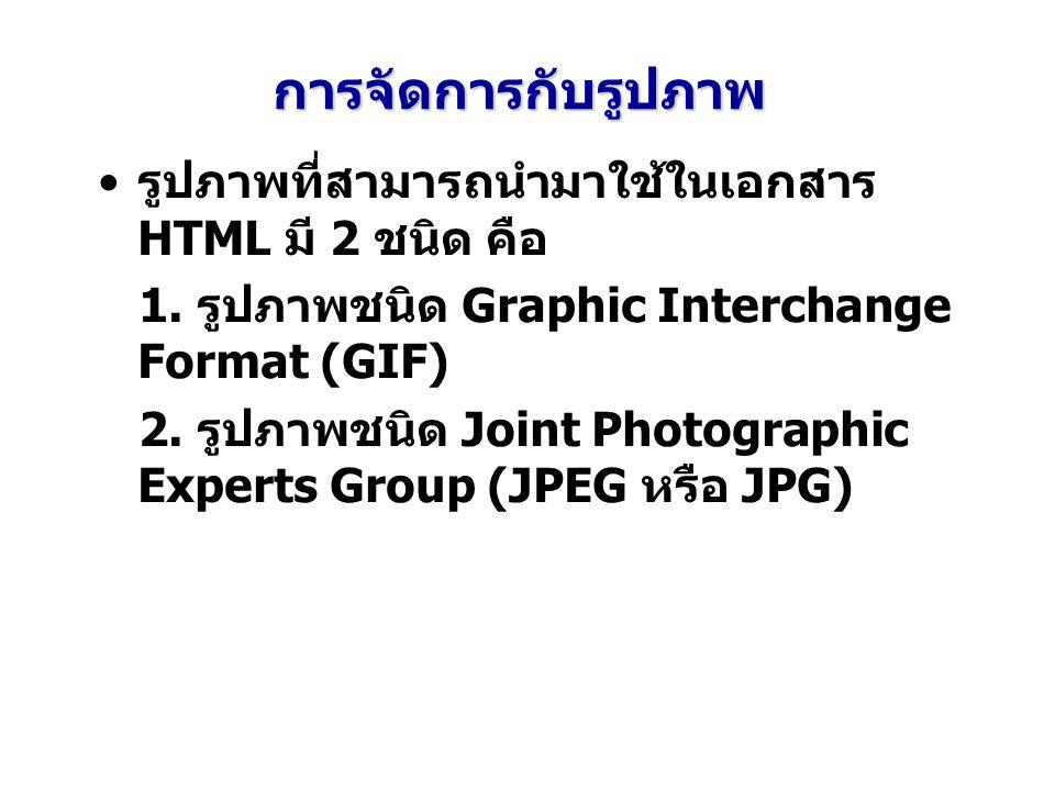 การจัดการกับรูปภาพ รูปภาพที่สามารถนำมาใช้ในเอกสาร HTML มี 2 ชนิด คือ 1. รูปภาพชนิด Graphic Interchange Format (GIF) 2. รูปภาพชนิด Joint Photographic E
