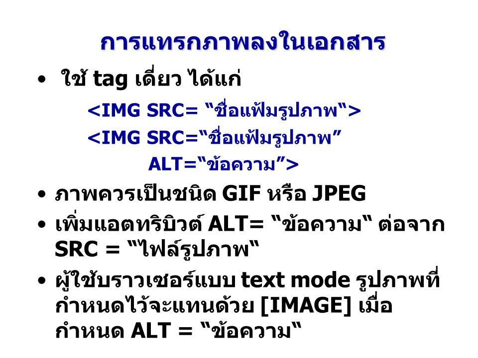 """การแทรกภาพลงในเอกสาร ใช้ tag เดี่ยว ได้แก่ <IMG SRC=""""ชื่อแฟ้มรูปภาพ"""" ALT=""""ข้อความ""""> ภาพควรเป็นชนิด GIF หรือ JPEG เพิ่มแอตทริบิวต์ ALT= """"ข้อความ"""" ต่อจา"""