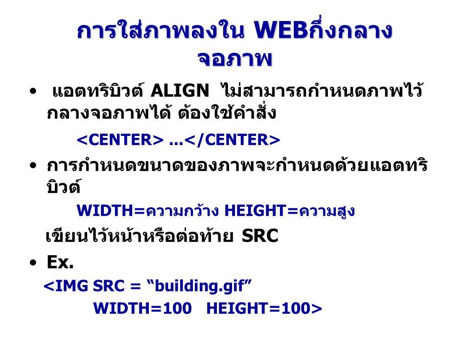 การใส่ภาพลงใน WEBกึ่งกลาง จอภาพ แอตทริบิวต์ ALIGN ไม่สามารถกำหนดภาพไว้ กลางจอภาพได้ ต้องใช้คำสั่ง... การกำหนดขนาดของภาพจะกำหนดด้วยแอตทริ บิวต์ WIDTH=ค