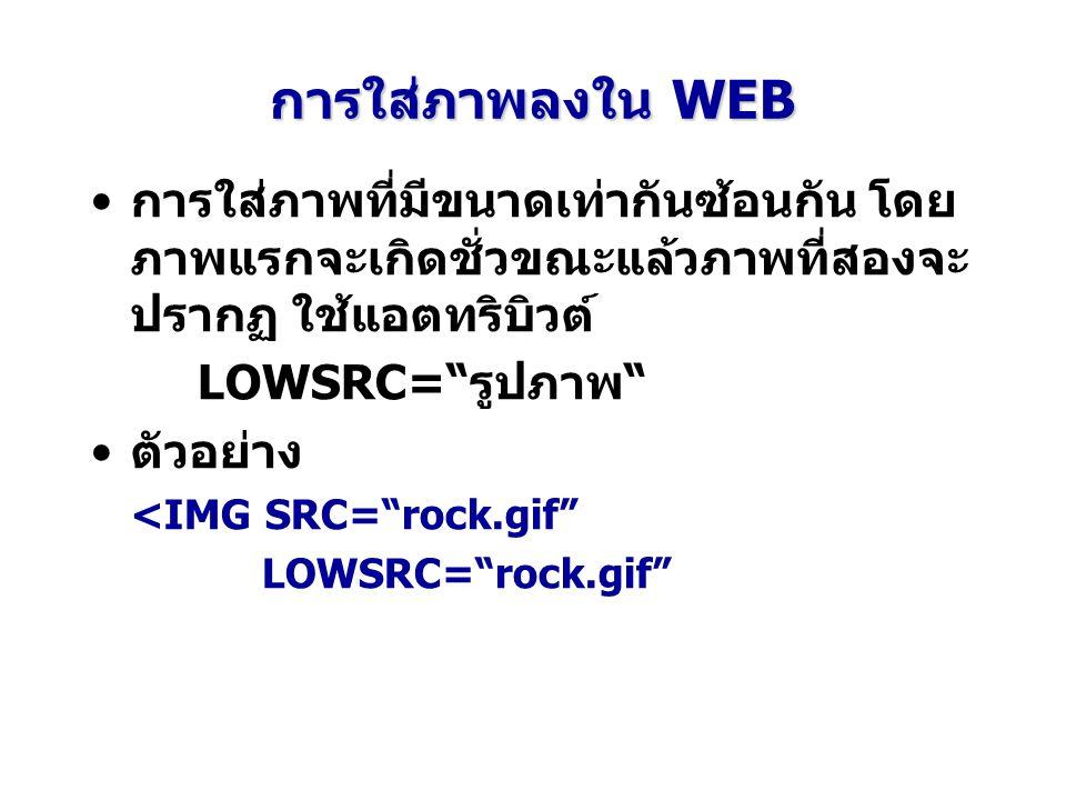 การใส่ภาพลงใน WEB การใส่ภาพที่มีขนาดเท่ากันซ้อนกัน โดย ภาพแรกจะเกิดชั่วขณะแล้วภาพที่สองจะ ปรากฏ ใช้แอตทริบิวต์ LOWSRC= รูปภาพ ตัวอย่าง <IMG SRC= rock.gif LOWSRC= rock.gif