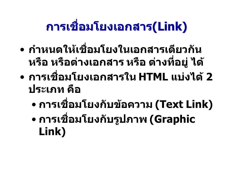 การเชื่อมโยงเอกสาร(Link) กำหนดให้เชื่อมโยงในเอกสารเดียวกัน หรือ หรือต่างเอกสาร หรือ ต่างที่อยู่ ได้ การเชื่อมโยงเอกสารใน HTML แบ่งได้ 2 ประเภท คือ การเชื่อมโยงกับข้อความ (Text Link) การเชื่อมโยงกับรูปภาพ (Graphic Link)