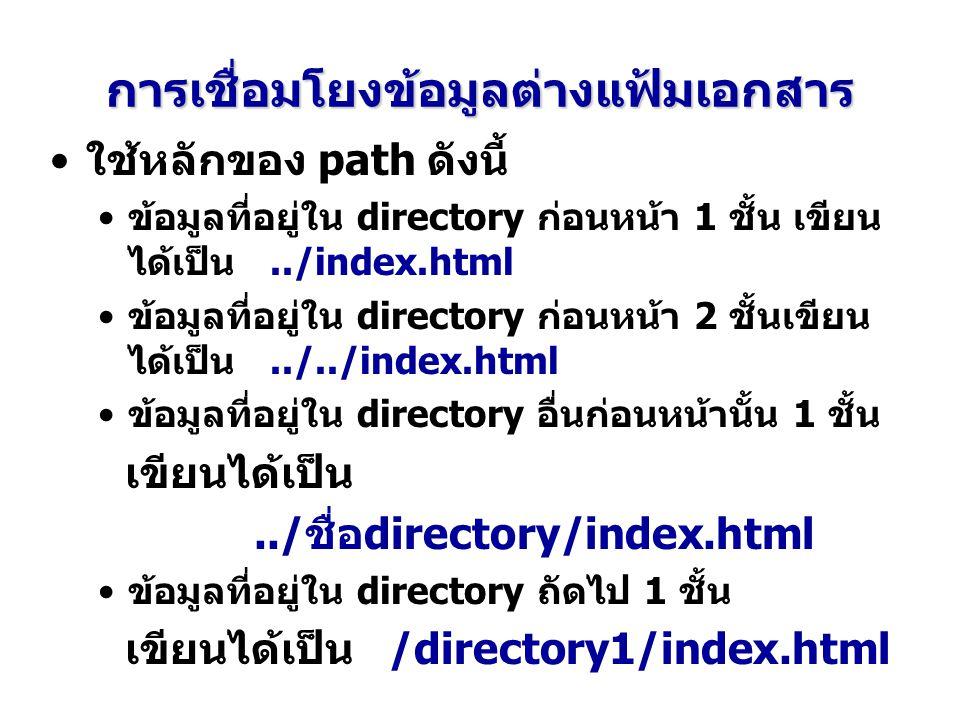 การเชื่อมโยงข้อมูลต่างแฟ้มเอกสาร ใช้หลักของ path ดังนี้ ข้อมูลที่อยู่ใน directory ก่อนหน้า 1 ชั้น เขียน ได้เป็น../index.html ข้อมูลที่อยู่ใน directory ก่อนหน้า 2 ชั้นเขียน ได้เป็น../../index.html ข้อมูลที่อยู่ใน directory อื่นก่อนหน้านั้น 1 ชั้น เขียนได้เป็น../ชื่อdirectory/index.html ข้อมูลที่อยู่ใน directory ถัดไป 1 ชั้น เขียนได้เป็น /directory1/index.html