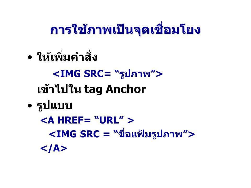การใช้ภาพเป็นจุดเชื่อมโยง ให้เพิ่มคำสั่ง เข้าไปใน tag Anchor รูปแบบ
