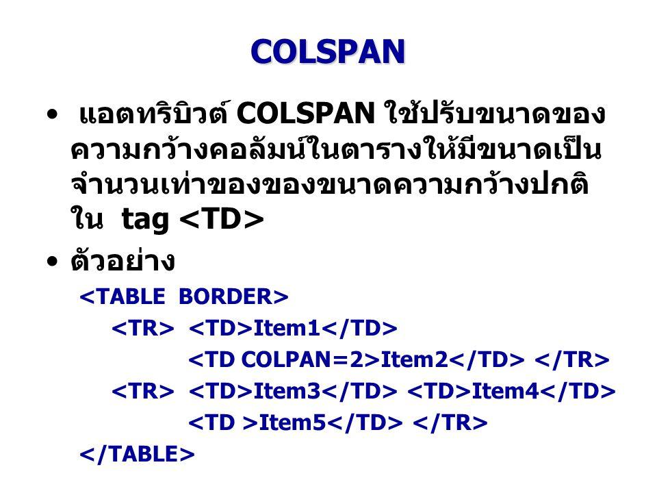 COLSPAN แอตทริบิวต์ COLSPAN ใช้ปรับขนาดของ ความกว้างคอลัมน์ในตารางให้มีขนาดเป็น จำนวนเท่าของของขนาดความกว้างปกติ ใน tag ตัวอย่าง Item1 Item2 Item3 Ite
