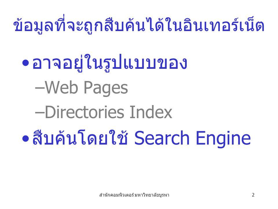สำนักคอมพิวเตอร์ มหาวิทยาลัยบูรพา2 ข้อมูลที่จะถูกสืบค้นได้ในอินเทอร์เน็ต อาจอยู่ในรูปแบบของ –Web Pages –Directories Index สืบค้นโดยใช้ Search Engine