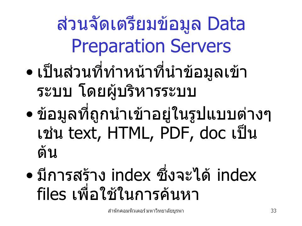สำนักคอมพิวเตอร์ มหาวิทยาลัยบูรพา33 ส่วนจัดเตรียมข้อมูล Data Preparation Servers เป็นส่วนที่ทำหน้าที่นำข้อมูลเข้า ระบบ โดยผู้บริหารระบบ ข้อมูลที่ถูกนำเข้าอยู่ในรูปแบบต่างๆ เช่น text, HTML, PDF, doc เป็น ต้น มีการสร้าง index ซึ่งจะได้ index files เพื่อใช้ในการค้นหา