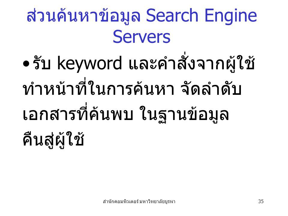 สำนักคอมพิวเตอร์ มหาวิทยาลัยบูรพา35 ส่วนค้นหาข้อมูล Search Engine Servers รับ keyword และคำสั่งจากผู้ใช้ ทำหน้าที่ในการค้นหา จัดลำดับ เอกสารที่ค้นพบ ในฐานข้อมูล คืนสู่ผู้ใช้