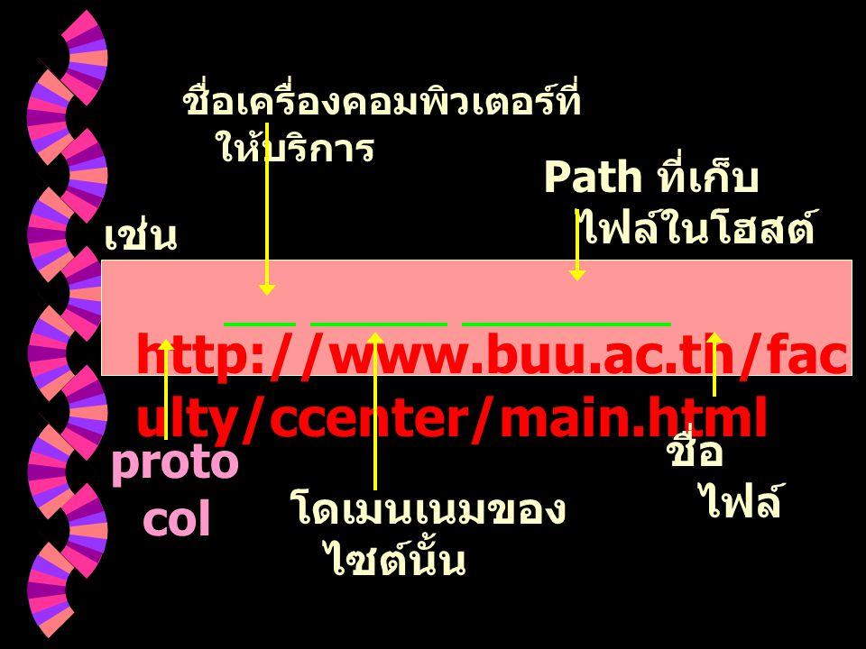 เช่น http://www.buu.ac.th/fac ulty/ccenter/main.html proto col ชื่อเครื่องคอมพิวเตอร์ที่ ให้บริการ โดเมนเนมของ ไซต์นั้น Path ที่เก็บ ไฟล์ในโฮสต์ ชื่อ