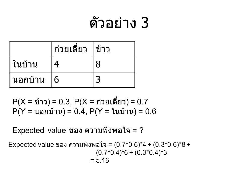 ตัวอย่าง 3 ก๋วยเตี๋ยวข้าว ในบ้าน 48 นอกบ้าน 63 P(X = ข้าว ) = 0.3, P(X = ก๋วยเตี๋ยว ) = 0.7 P(Y = นอกบ้าน ) = 0.4, P(Y = ในบ้าน ) = 0.6 Expected value ของ ความพึงพอใจ = .