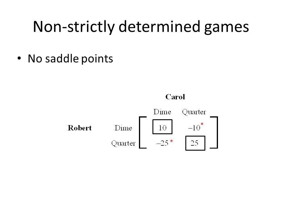 Non-strictly determined games No saddle points * *