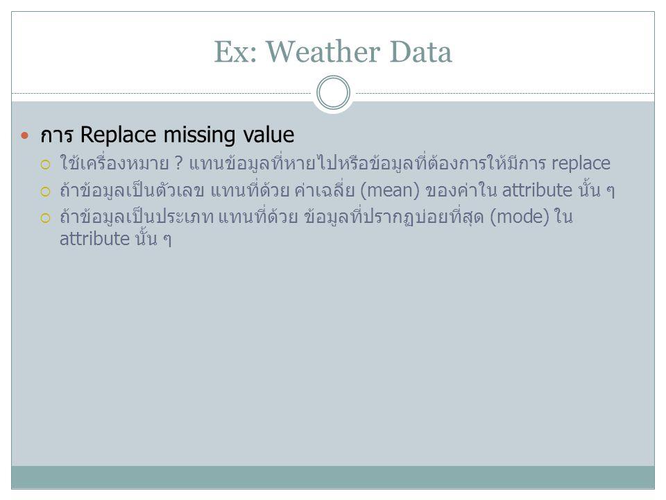 Ex: Weather Data การ Replace missing value  ใช้เครื่องหมาย ? แทนข้อมูลที่หายไปหรือข้อมูลที่ต้องการให้มีการ replace  ถ้าข้อมูลเป็นตัวเลข แทนที่ด้วย ค