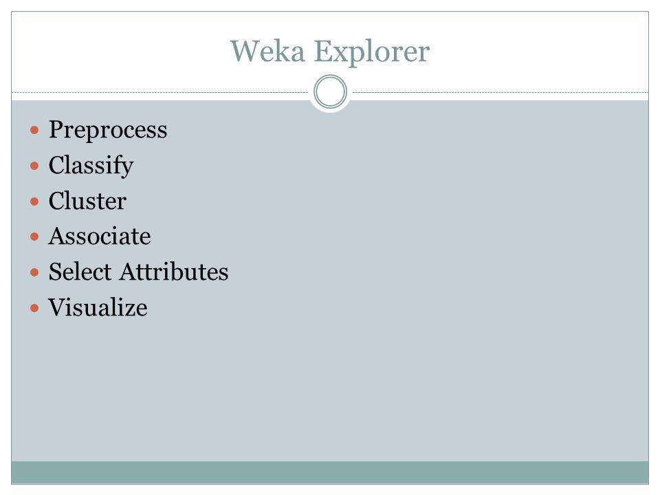 Memory Error ซอฟต์แวร์ Weka จะทำการอ่านข้อมูลทั้งหมดเข้าไปเก็บไว้ใน หน่วยความจำ (memory) ภายในเครื่องก่อน แล้วจึงนำข้อมูลเหล่านี้ ไปประมวลผลต่อไป อาจเกิด error ได้ เนื่องจากหน่วยความจำไม่พอ การคำนวณขนาดของหน่วยความจำที่ต้องใช้ คำนวณได้จาก Approx_mem = number of attributes * number of instances * 8 ตัวอย่างเช่น ข้อมูล 10,000,000 instances มี 10 attributes จะต้อง ใช้หน่วยความจำ = 10,000,000*10*8 = 800,000,000 = 800 MB