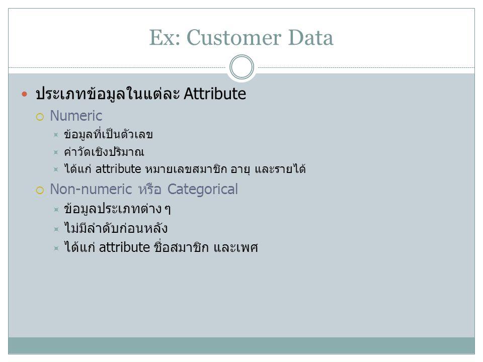 Ex: Customer Data ประเภทข้อมูลในแต่ละ Attribute  Numeric  ข้อมูลที่เป็นตัวเลข  ค่าวัดเชิงปริมาณ  ได้แก่ attribute หมายเลขสมาชิก อายุ และรายได้  N