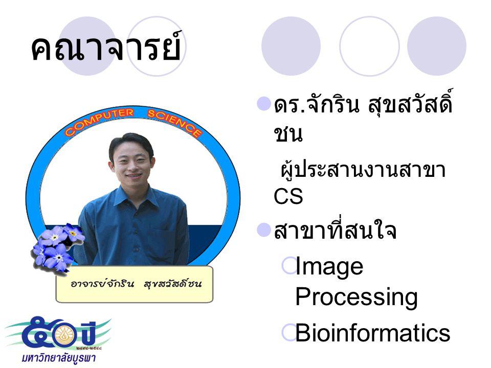คณาจารย์ ดร. จักริน สุขสวัสดิ์ ชน ผู้ประสานงานสาขา CS สาขาที่สนใจ  Image Processing  Bioinformatics