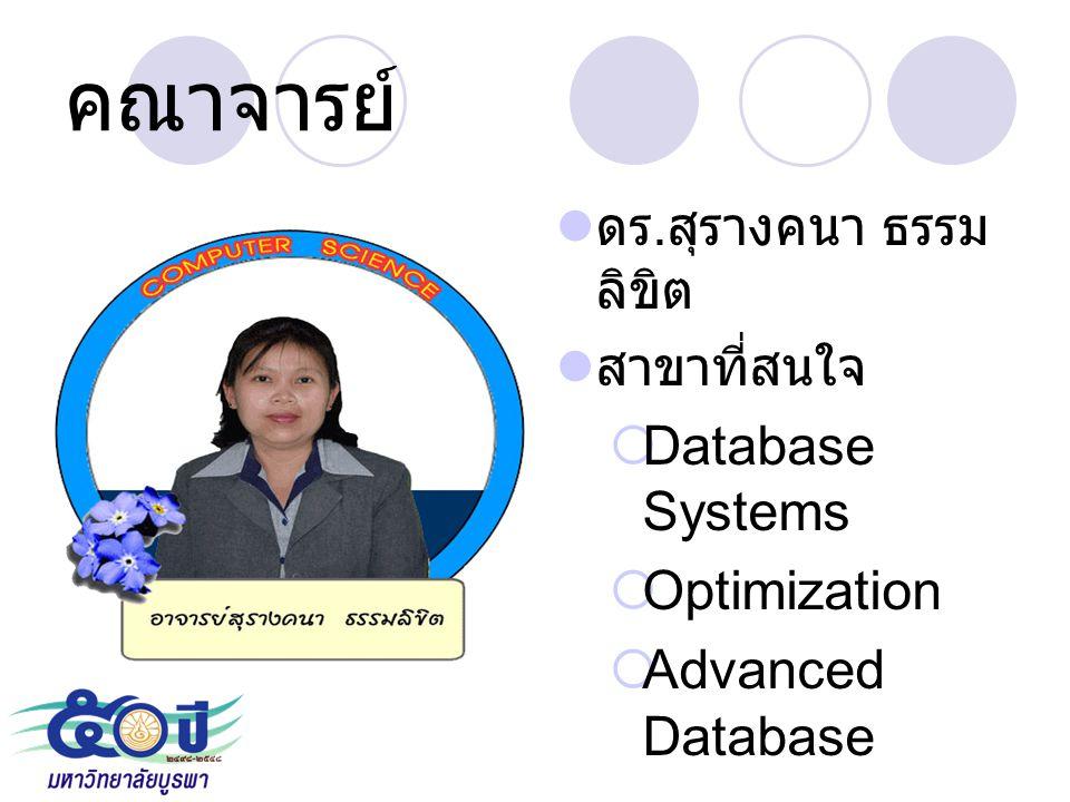 คณาจารย์ ดร. สุรางคนา ธรรม ลิขิต สาขาที่สนใจ  Database Systems  Optimization  Advanced Database