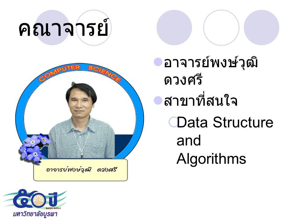 คณาจารย์ อาจารย์พงษ์วุฒิ ดวงศรี สาขาที่สนใจ  Data Structure and Algorithms