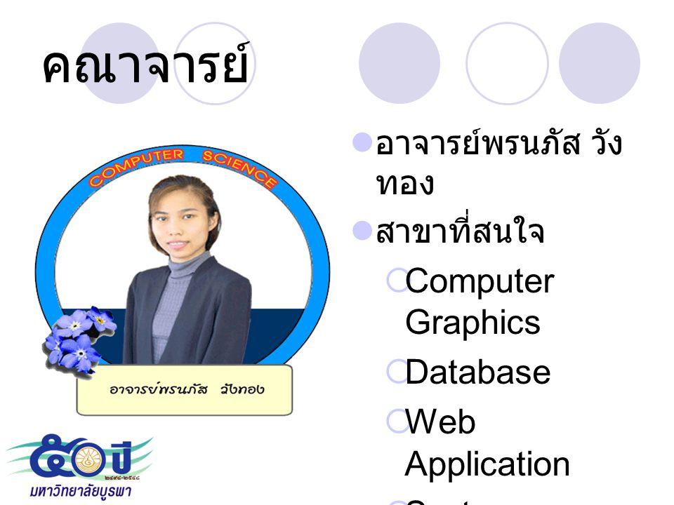 คณาจารย์ อาจารย์พรนภัส วัง ทอง สาขาที่สนใจ  Computer Graphics  Database  Web Application  System Analysis and Design