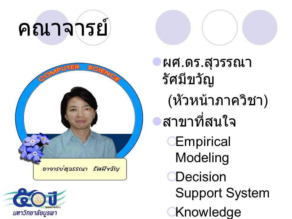 คณาจารย์ ผศ. ดร. สุวรรณา รัศมีขวัญ ( หัวหน้าภาควิชา ) สาขาที่สนใจ  Empirical Modeling  Decision Support System  Knowledge Management
