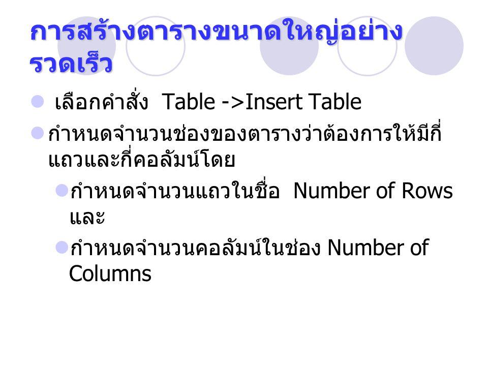 การสร้างตารางขนาดใหญ่อย่าง รวดเร็ว เลือกคำสั่ง Table ->Insert Table กำหนดจำนวนช่องของตารางว่าต้องการให้มีกี่ แถวและกี่คอลัมน์โดย กำหนดจำนวนแถวในชื่อ Number of Rows และ กำหนดจำนวนคอลัมน์ในช่อง Number of Columns