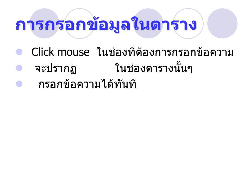 การกรอกข้อมูลในตาราง Click mouse ในช่องที่ต้องการกรอกข้อความ จะปรากฏ ในช่องตารางนั้นๆ กรอกข้อความได้ทันที