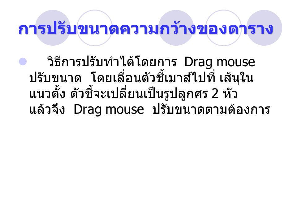 การปรับขนาดความกว้างของตาราง วิธีการปรับทำได้โดยการ Drag mouse ปรับขนาด โดยเลื่อนตัวชี้เมาส์ไปที่ เส้นใน แนวตั้ง ตัวชี้จะเปลี่ยนเป็นรูปลูกศร 2 หัว แล้วจึง Drag mouse ปรับขนาดตามต้องการ
