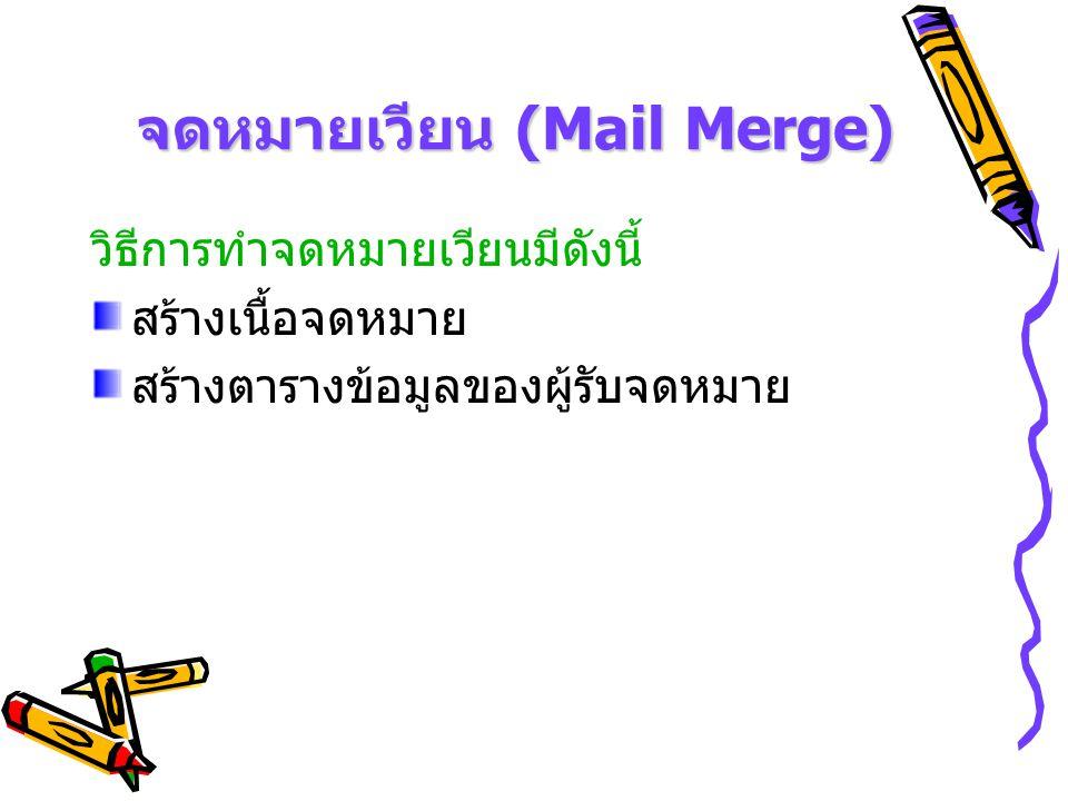 จดหมายเวียน (Mail Merge) เปิดแฟ้มเอกสารที่เป็นเอกสารหลัก ( ตัวจดหมาย ) เลือกเครื่องมือจดหมายเวียนจาก เมนูมุมมอง เลือกแถบเครื่องมือ และเลือกจดหมายเวียน จะได้ แถบเครื่องมือดังรูป