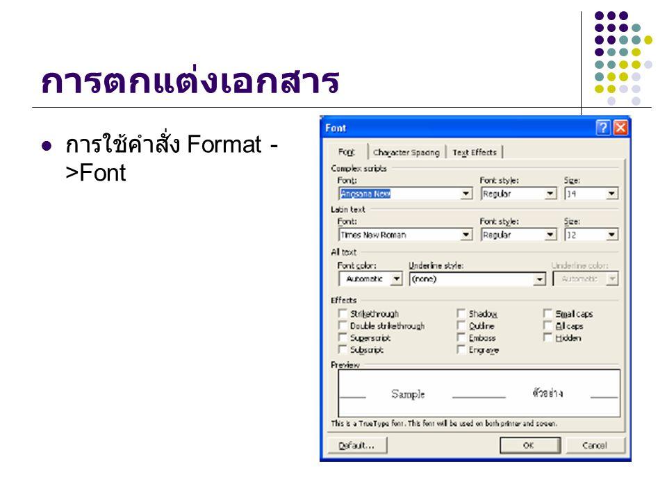 การวางตำแหน่งข้อความ Click ปุ่ม ( Align Left) จัดวางข้อความชิด ซ้าย Click ปุ่ม ( Align Right ) จัดวางข้อความชิด ขวา Click ปุ่ม (Center) จัดวางข้อความตรงกลาง Click ปุ่ม (Justify) จัดวางข้อความให้ชิดขอบ ซ้ายและขวา Click ปุ่ม (Thai Justify) จัดวางข้อความให้ ชิดขอบซ้ายและขวา โดยแยกช่องไฟระหว่าง ตัวอักษรแต่ละตัวเท่าๆ กัน ( มีใช้เฉพาะภาษไทย เท่านั้น )