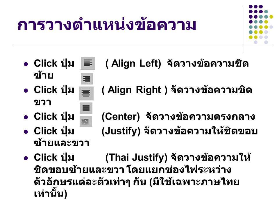 การวางตำแหน่งข้อความ Click ปุ่ม ( Align Left) จัดวางข้อความชิด ซ้าย Click ปุ่ม ( Align Right ) จัดวางข้อความชิด ขวา Click ปุ่ม (Center) จัดวางข้อความต