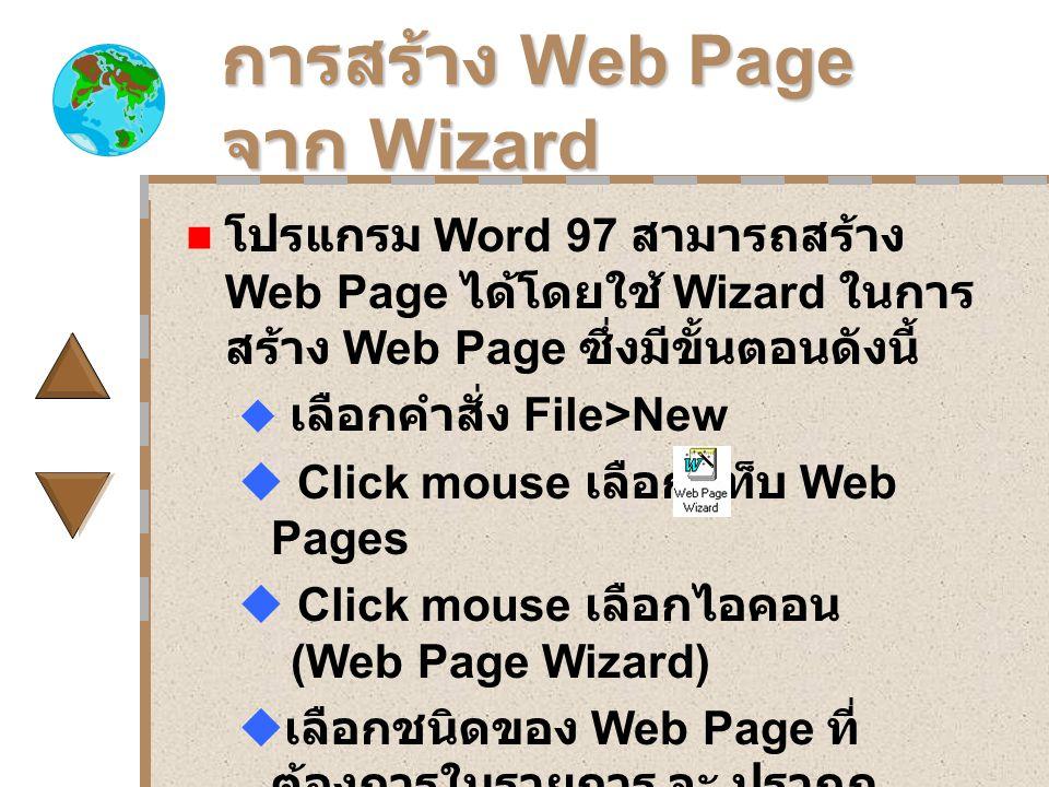 การสร้าง Web Page จาก Wizard โปรแกรม Word 97 สามารถสร้าง Web Page ได้โดยใช้ Wizard ในการ สร้าง Web Page ซึ่งมีขั้นตอนดังนี้  เลือกคำสั่ง File>New  Click mouse เลือกแท็บ Web Pages  Click mouse เลือกไอคอน (Web Page Wizard)  เลือกชนิดของ Web Page ที่ ต้องการในรายการ จะ ปรากฎ รูปแสดงผลลัพธ์บนหน้าจอภาพ.