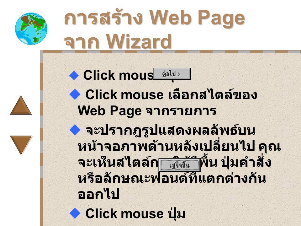 การสร้าง Web Page จาก Wizard  Click mouse ปุ่ม  Click mouse เลือกสไตล์ของ Web Page จากรายการ  จะปรากฎรูปแสดงผลลัพธ์บน หน้าจอภาพด้านหลังเปลี่ยนไป คุณ จะเห็นสไตล์การใช้สีพื้น ปุ่มคำสั่ง หรือลักษณะฟอนต์ที่แตกต่างกัน ออกไป  Click mouse ปุ่ม  แก้ไขส่วนต่างๆใน Web page ได้แก่ การกรอกข้อความ การ กำหนด Hyperlink ฯลฯ