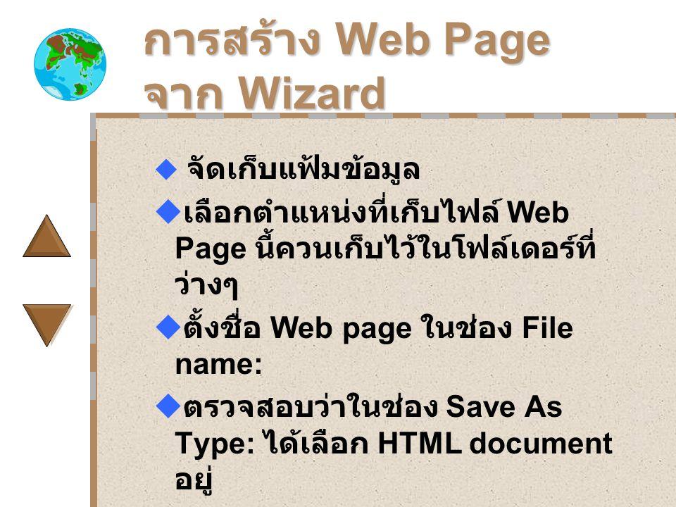 การสร้าง Web Page จาก Wizard  จัดเก็บแฟ้มข้อมูล  เลือกตำแหน่งที่เก็บไฟล์ Web Page นี้ควนเก็บไว้ในโฟล์เดอร์ที่ ว่างๆ  ตั้งชื่อ Web page ในช่อง File name:  ตรวจสอบว่าในช่อง Save As Type: ได้เลือก HTML document อยู่