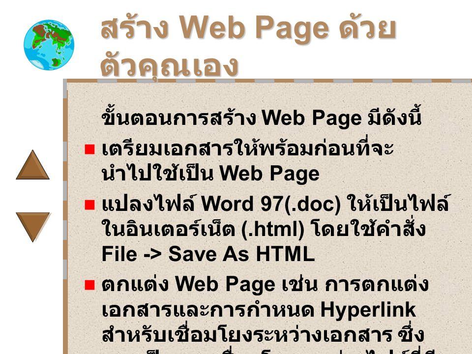 สร้าง Web Page ด้วย ตัวคุณเอง ขั้นตอนการสร้าง Web Page มีดังนี้ เตรียมเอกสารให้พร้อมก่อนที่จะ นำไปใช้เป็น Web Page แปลงไฟล์ Word 97(.doc) ให้เป็นไฟล์ ในอินเตอร์เน็ต (.html) โดยใช้คำสั่ง File -> Save As HTML ตกแต่ง Web Page เช่น การตกแต่ง เอกสารและการกำหนด Hyperlink สำหรับเชื่อมโยงระหว่างเอกสาร ซึ่ง ควรเป็นการเชื่อมโยงระหว่างไฟล์ที่มี นามสกุลเป็น.html.Save ไฟล์ที่เป็นเวปเพจนี้เก็บไว้ใช้ งานต่อไป