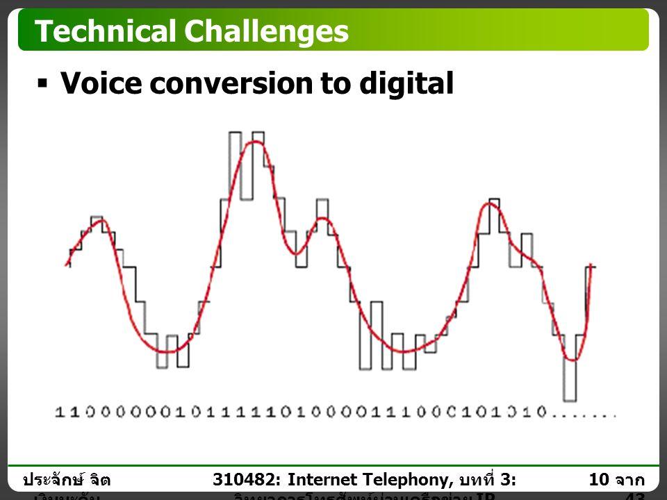 ประจักษ์ จิต เงินมะดัน 9 จาก 43 310482: Internet Telephony, บทที่ 3: วิทยาการโทรศัพท์ผ่านเครือข่าย IP Technical Challenges  Voice conversion to digit