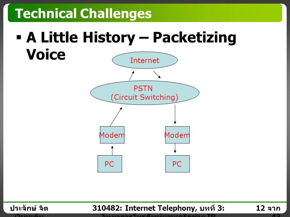 ประจักษ์ จิต เงินมะดัน 11 จาก 43 310482: Internet Telephony, บทที่ 3: วิทยาการโทรศัพท์ผ่านเครือข่าย IP Technical Challenges  A Little History – Packe